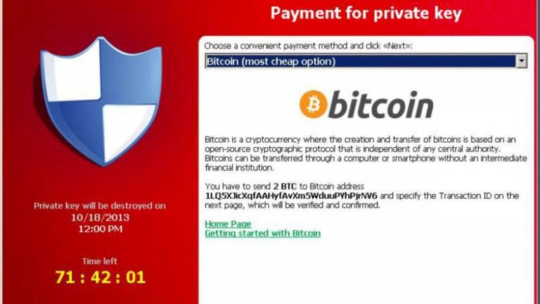Os ransomwares determinam um prazo máximo para o pagamento do resgate; na imagem, se 2 Bitcoins (R$ 6,8 mil) não forem pagos em 71 horas, todos os dados serão apagados