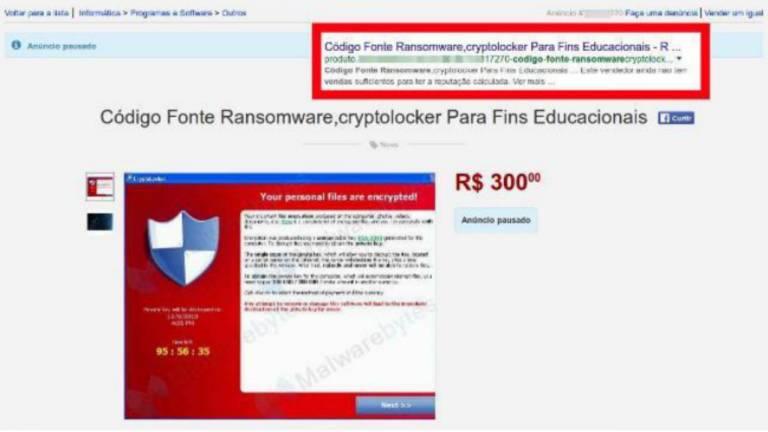 Código fonte de ransomware é anunciado em site de vendas online por R$ 300; existe um mercado para compra e venda de códigos maliciosos usado por criminosos