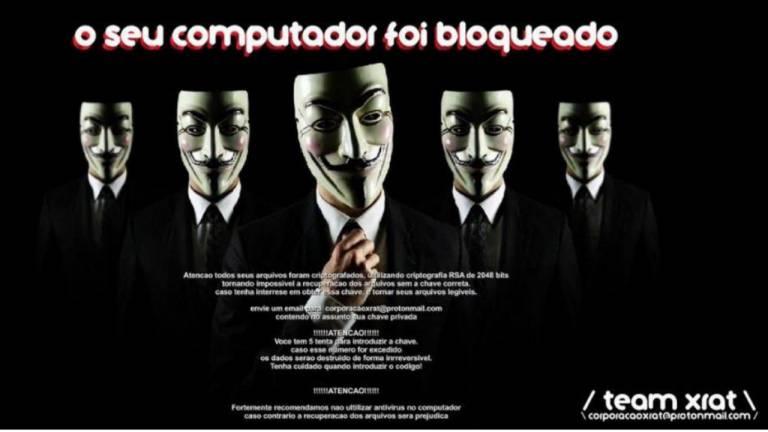 Um exemplo de ransomware em português da Teamxrat, desenvolvido para atacar vítimas no Brasil