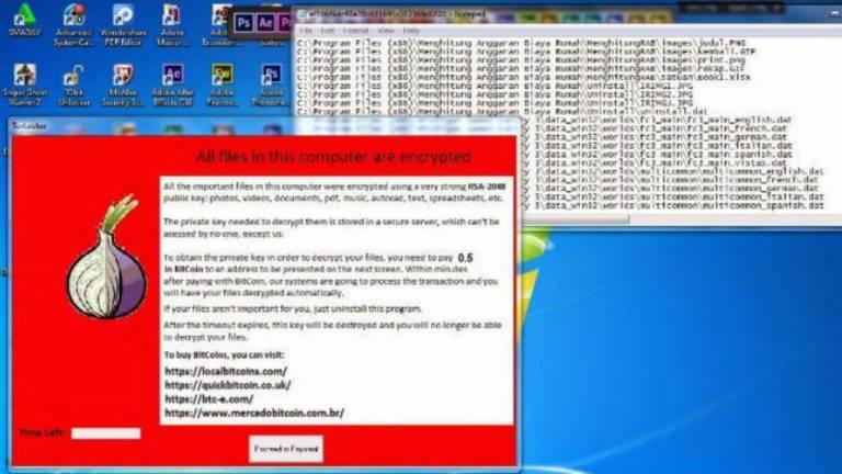 Na imagem, um ransomware que infecta usuários da rede Tor e que pede resgate de 0,5 Bitcoin, o que equivale a cerca de R$ 1,7 mil na cotação de 21.02.2017