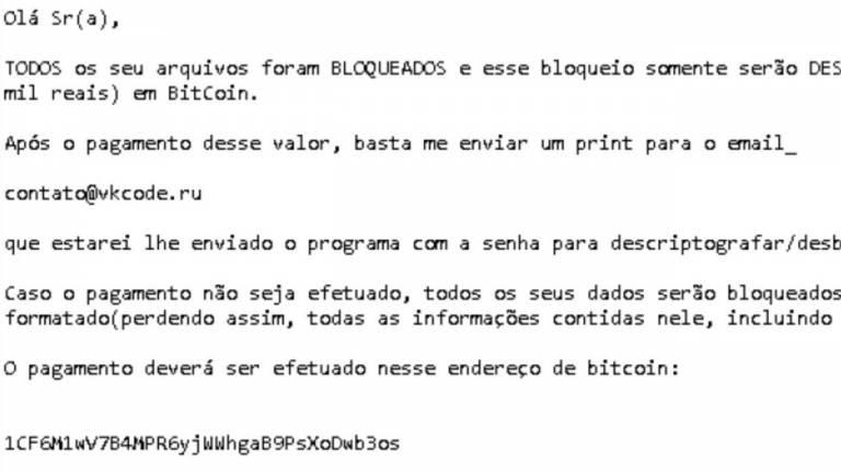 Boa parte dos pagamentos de resgate é feita com a criptomoeda Bitcoin, que é praticamente impossível de rastrear; na imagem, o ransomware Hidden Tear