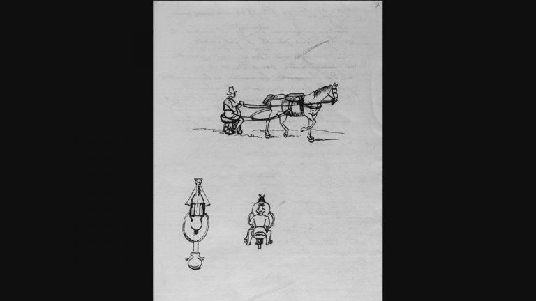 Engenheiro (1837)  Charrete individual (c. 1840) puxada a cavalo para ser utilizada em pequenos descolamentos em cidades e prados: artefato nunca construído imaginado para facilitar o cotidiano