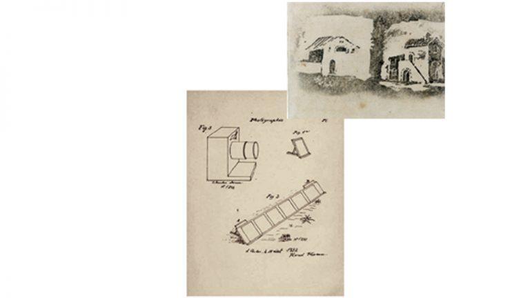 """Pioneiro da fotografia  (1832)  Projeto da """"Photographie"""" em esquema de 15 de agosto de 1832. No alto, vista de casinhas (c. 1833) em uma prova fotográfica em papel recoberto por negro de fumo e goma arábica: trabalho inovador"""