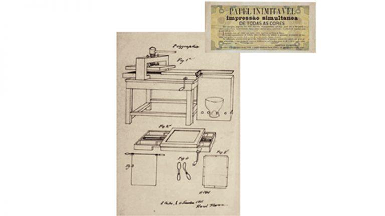 """Inventor da fotocópia (1831)  Protótipo da poligrafia. A """"polygraphie"""" antecipou em um século a fotocópia colorida. No alto, amostra do """"papel inimitável"""" (1870) impresso em todas as cores: usado para segurança de papel-moeda"""