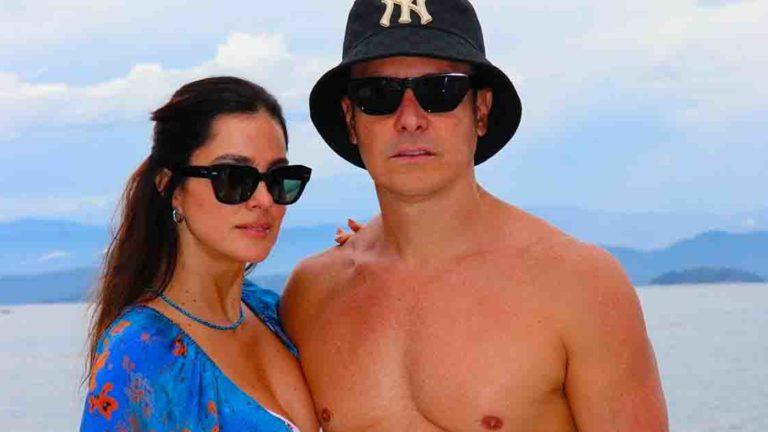 Rodrigo Faro e a esposa. Vera Viel, em Angra.