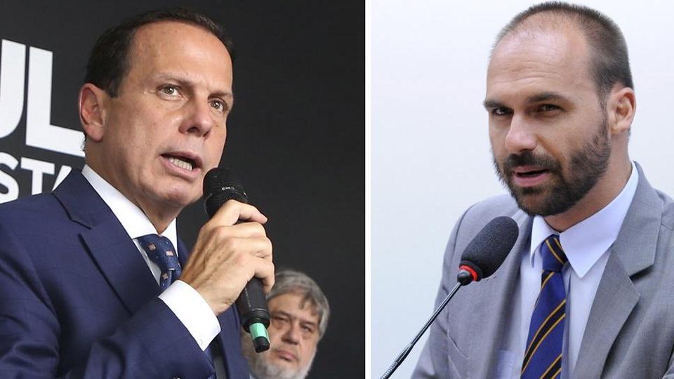 """""""Vou te vacinar também"""", diz João Doria para Eduardo Bolsonaro"""