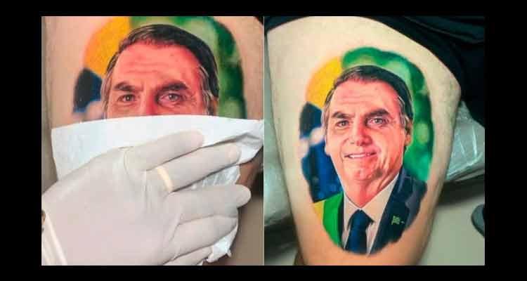 Homem tatua rosto de Jair Bolsonaro na coxa; assista