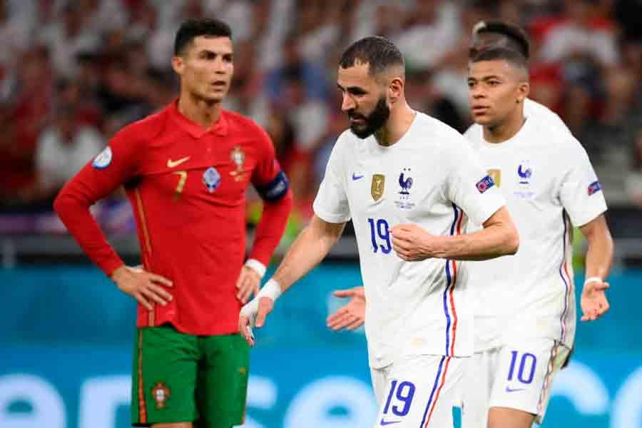 Com gols de Cristiano Ronaldo e Benzema, Portugal e França empatam pelo Grupo F da Eurocopa