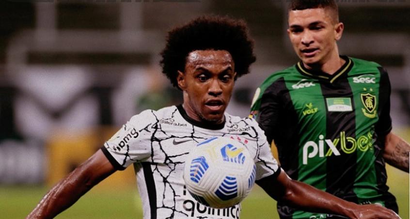 Willian estreia, Giuliano marca, mas Corinthians fica apenas no empate com o América-MG