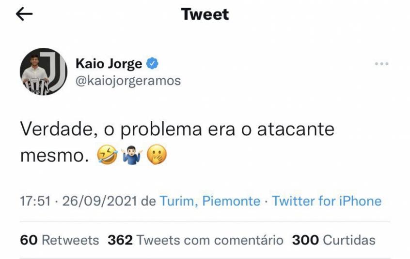 Em rede social, atacante Kaio Jorge ironiza o Santos após derrota para o Juventude