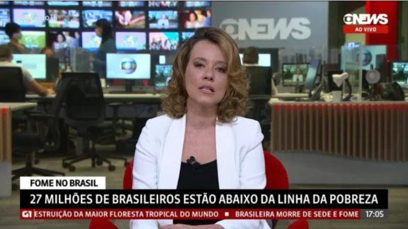 Natuza Nery chora ao vivo com reportagem sobre fome no Brasil