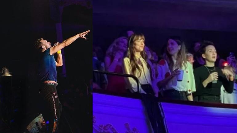 Chris Martin se declara a Dakota Johnson, de '50 Tons', em show do Coldplay