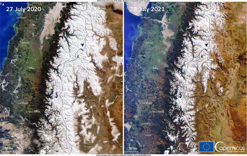 """""""Megaseca"""" nos Andes provocada por aquecimento global deixa picos de montanhas sem neve"""